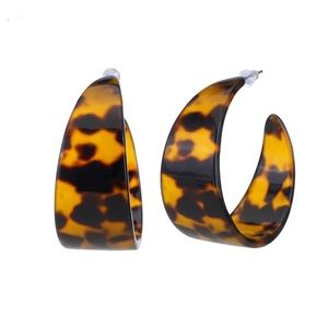 Jewelry - NEW Acrylic Resin Tortoiseshell Hoop Earrings